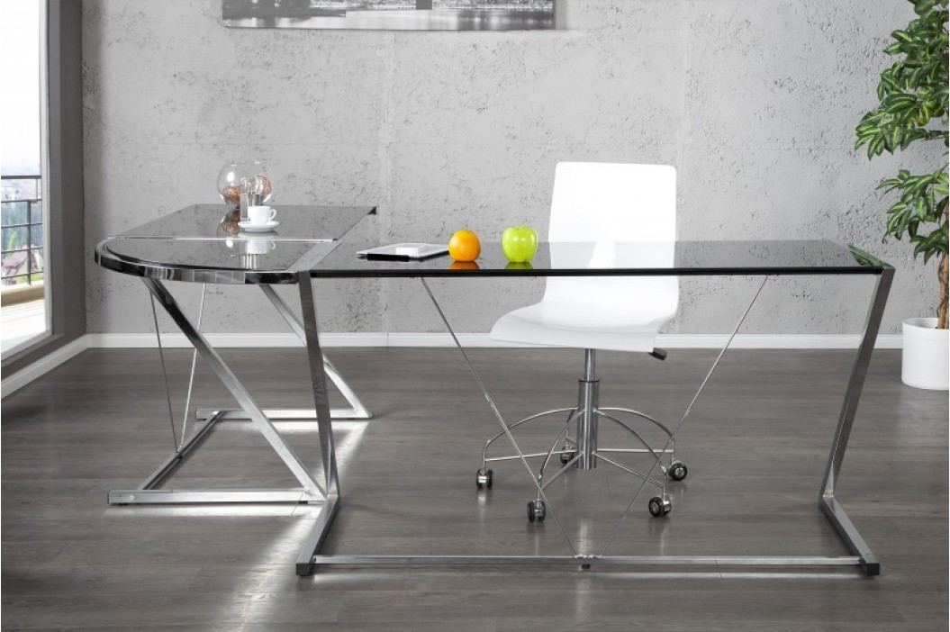 Rohový pisací stôl ELLA - čierna