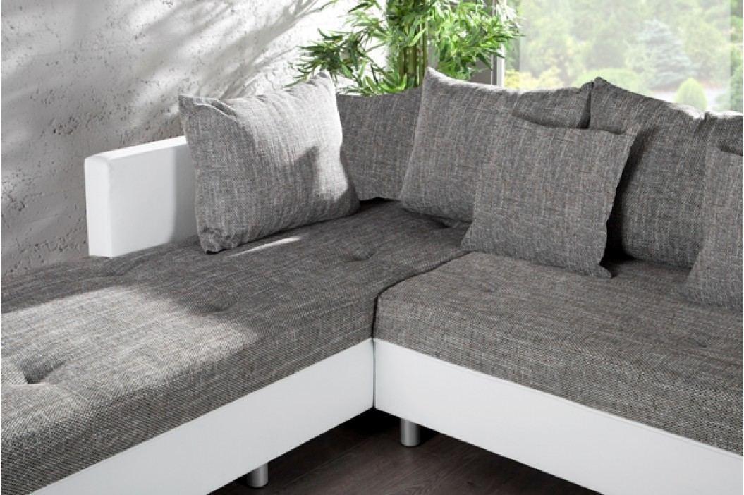 Rohová sedacia súprava PUEBLO OT vľavo - biela,sivá