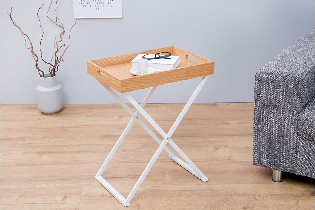 Bighome - Príručný stolík VALIENTA - biela, prírodná