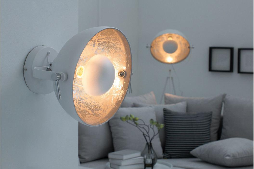Bighome - Nástenná lampa STUDY - biela, strieborná