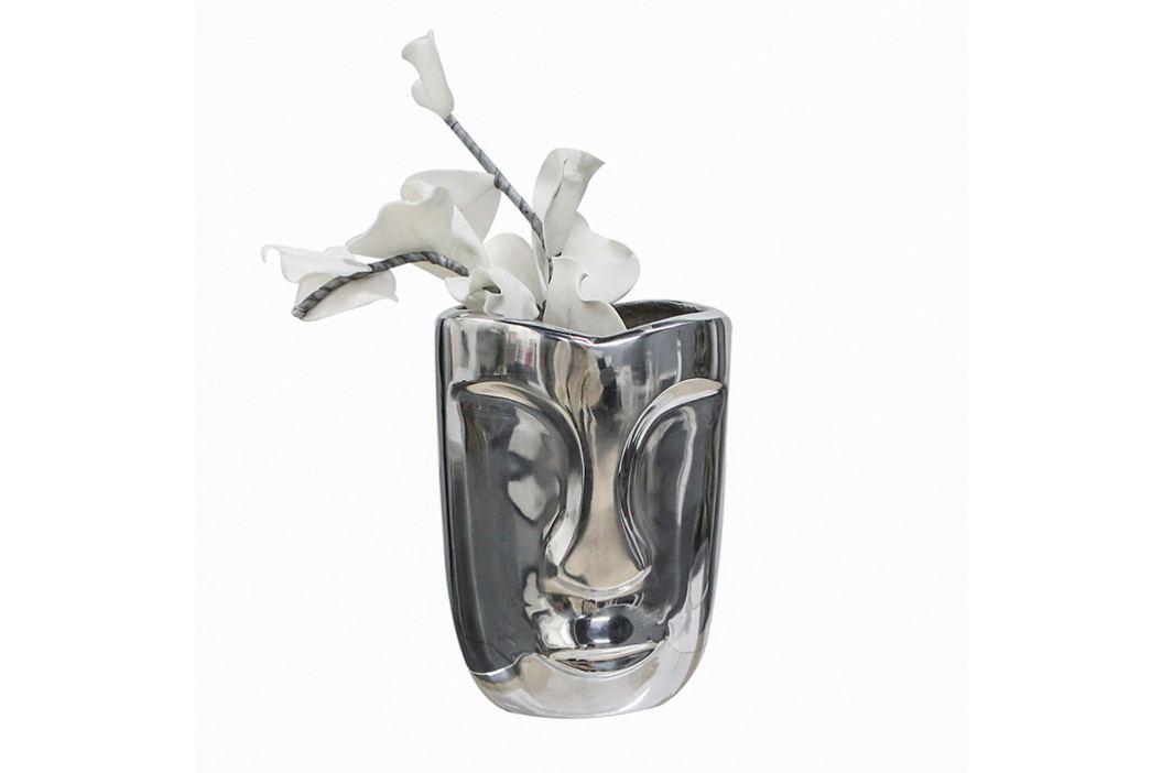 Bighome - Váza FACCE 23 cm - strieborná