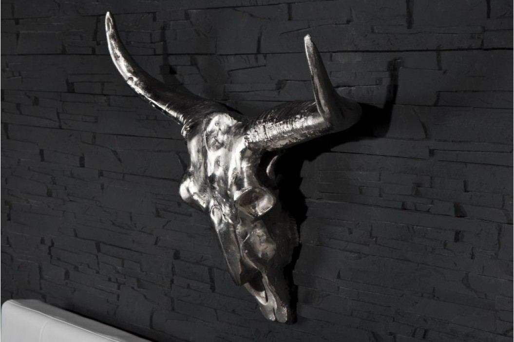 Dekorácia lebka LONGHORN - strieborná