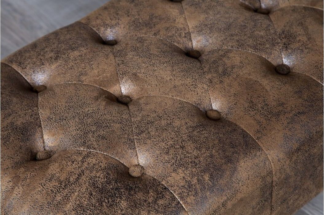 Taburetka CHESTERFIELD STOOL VINTAGE  antik look - hnedá