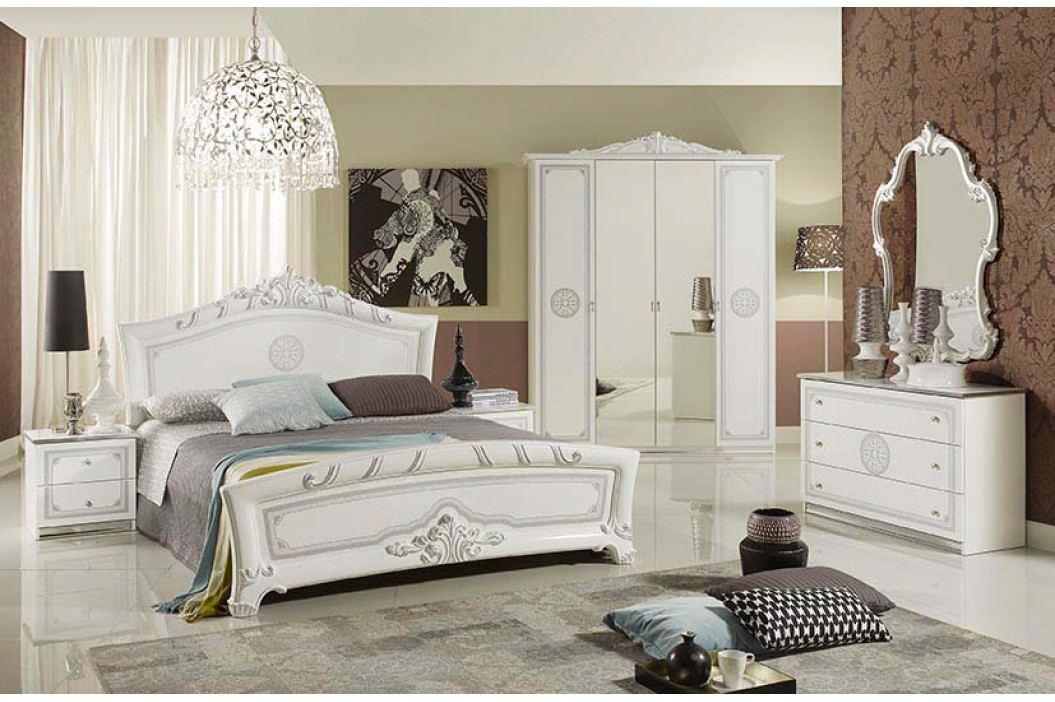 Štýlová talianska spálňa s 4-dverovým šatníkom MARGARET - biela