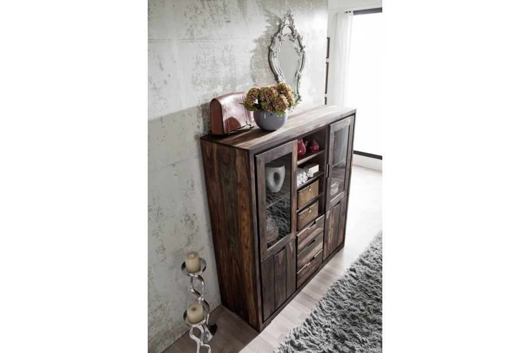 PLAIN SHEESHAM Highboard komoda olejovaný indický palisander, sivá