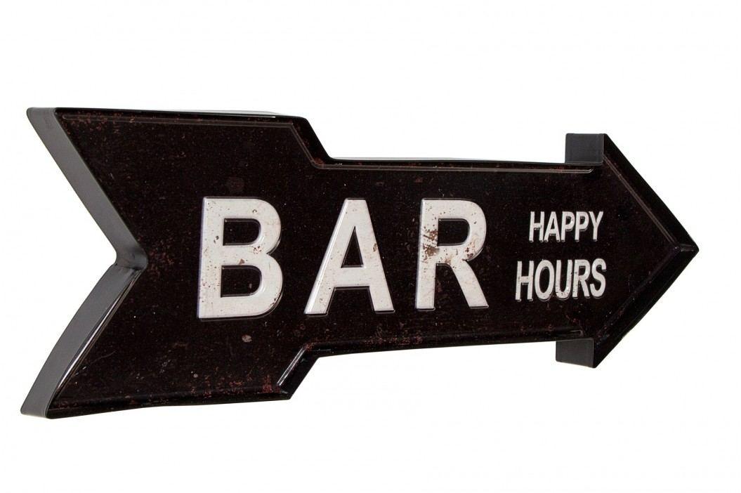 Nápis na stenu BAR HAPPY HOURS, 55 cm - čierna