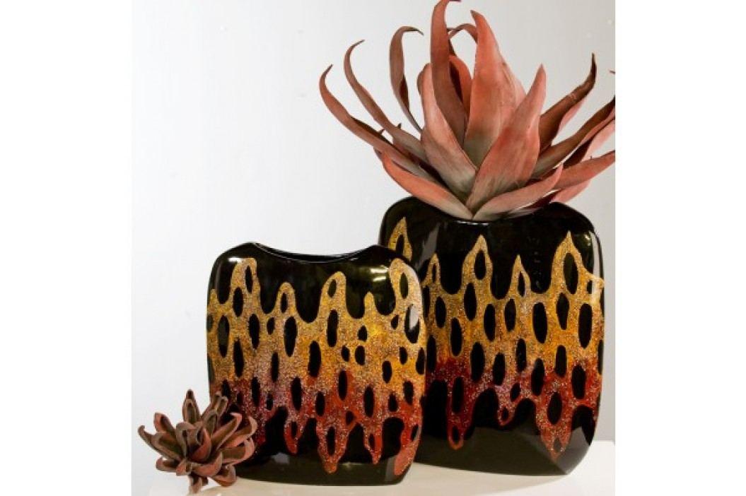 Dekoratívna váza LEONE - červená/oranžová/čierna 29 cm