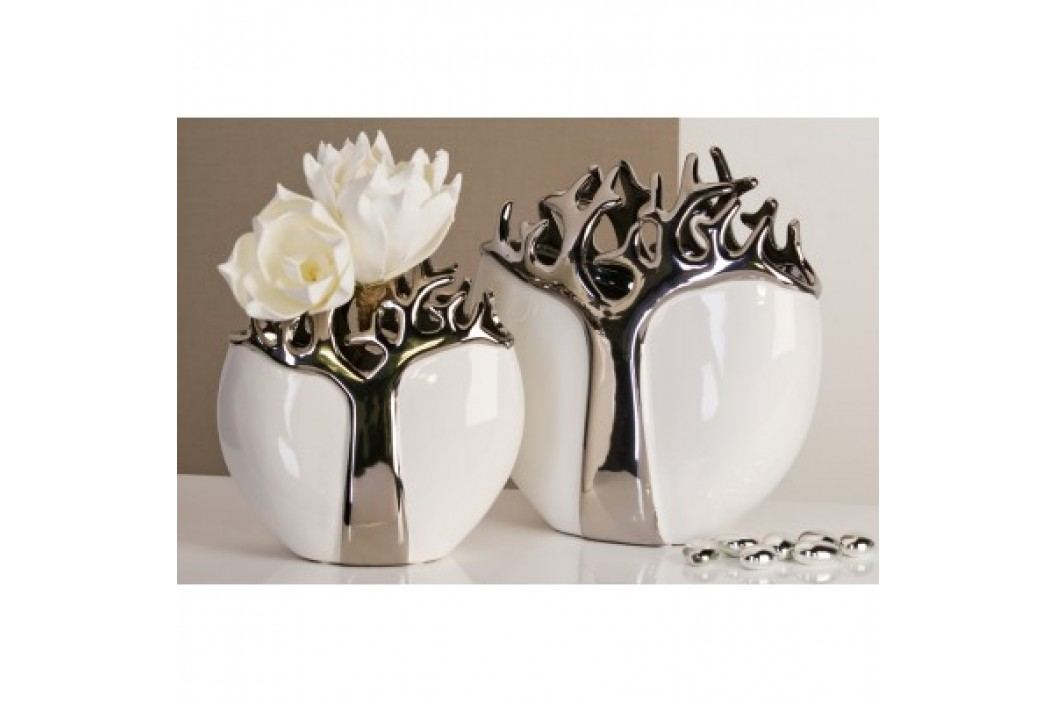 Dekoratívna váza TREES 27 cm - strieborná/biela