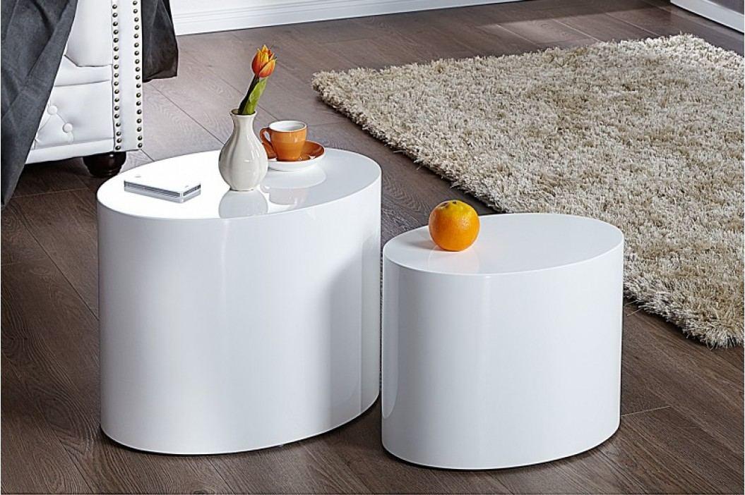 Set 2 odkladacích stolíkov DIVISION - biela