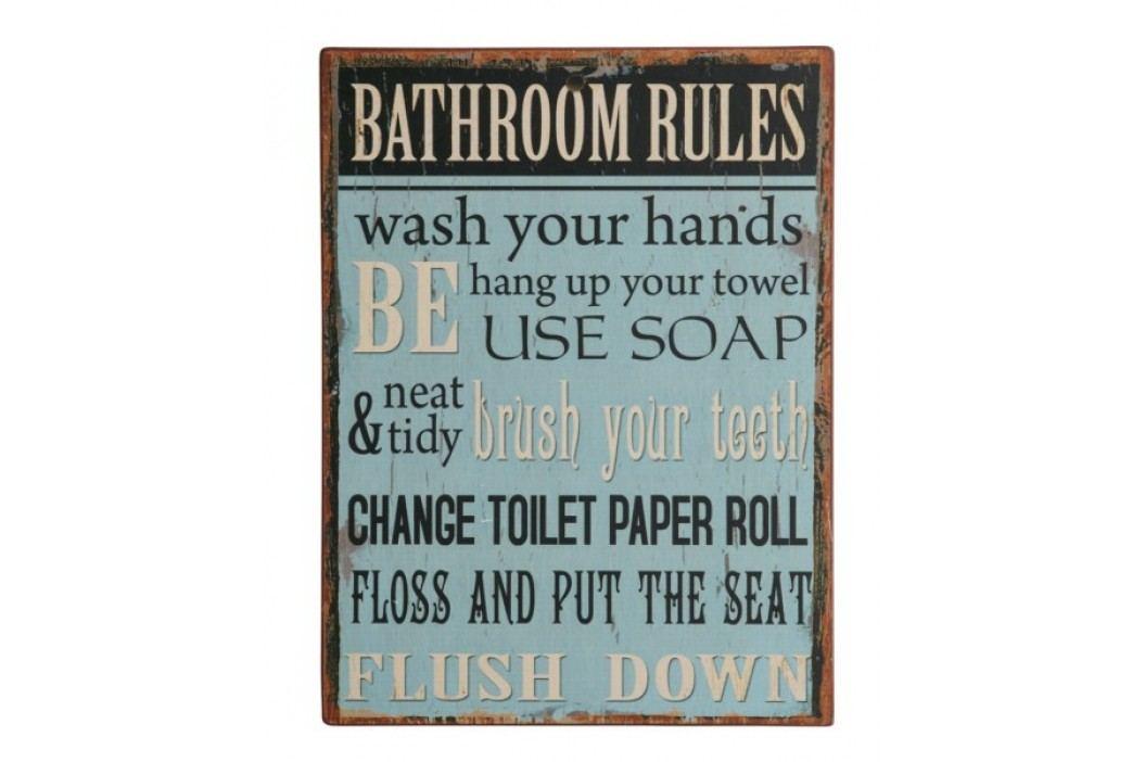 Ceduľa BATHROOM RULES ... - modrá