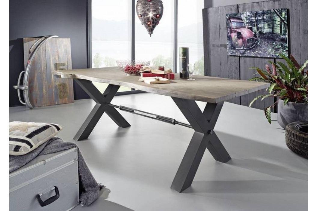 Masiv24 - DARKNESS Jedálenský stôl 220x100 cm - čierne nohy, sivá, akácia