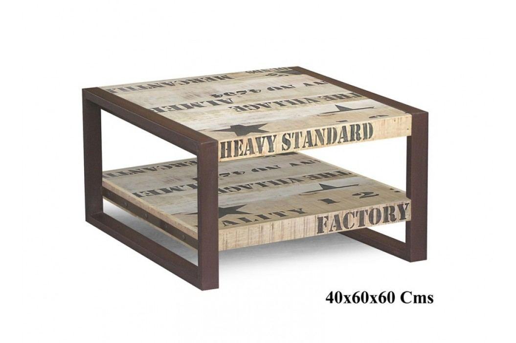 FABRICA konferenčný stolík #125, liatina a mangové drevo, potlač