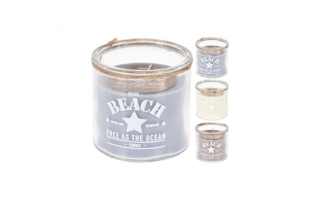 Sviečka sklo BEACH 10x10cm mix