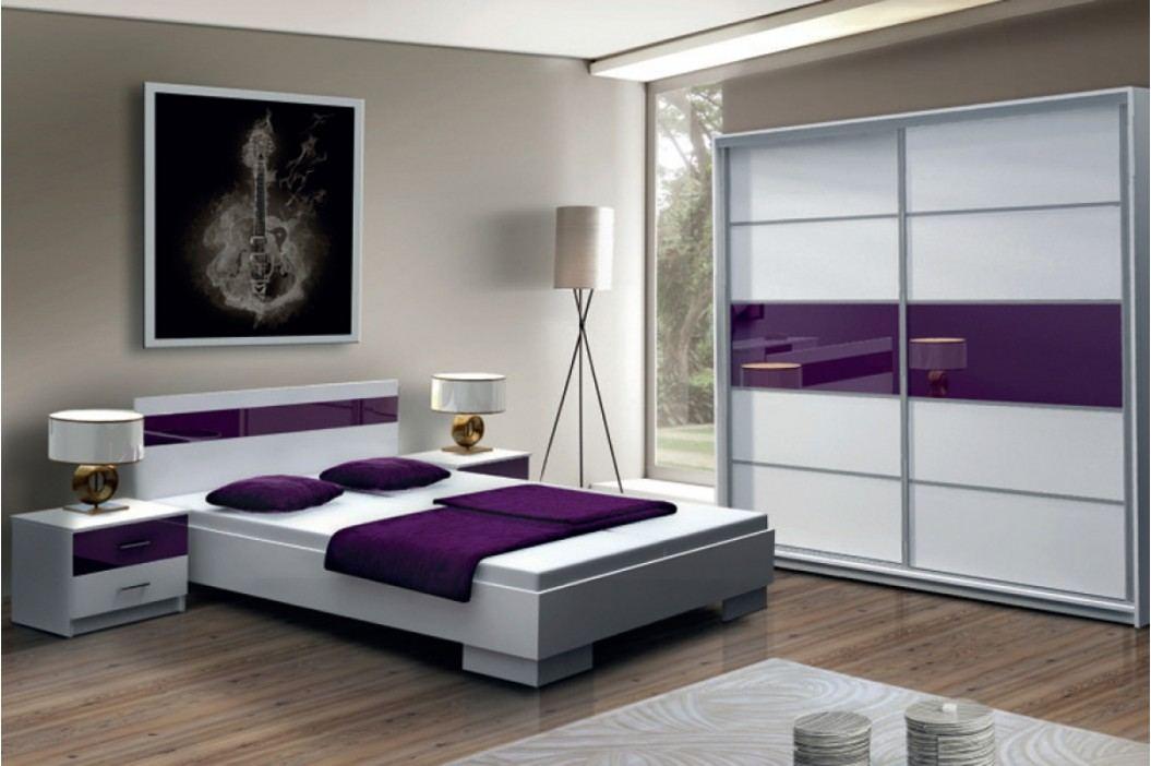 Komplet dubaj ii biela/fialové sklo