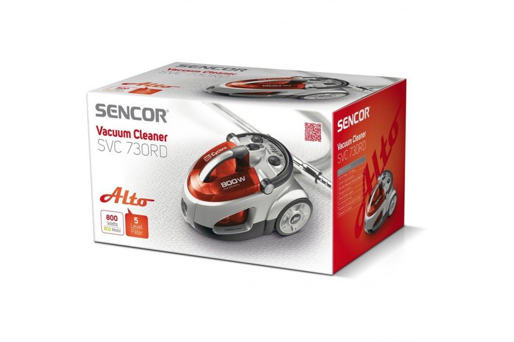 Sencor SVC 730RD-EUE2 bezvreckový vysávač, červená