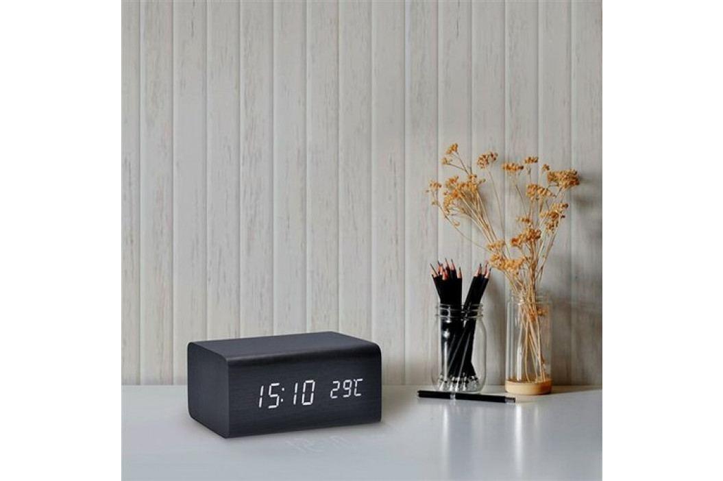 Hodiny s budíkom - biele LED podsvietenie / čierne drevo Solight CA01B
