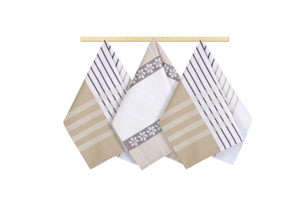 Bellatex Utierka Prúžok béžová, hnedá, biela, 50 x 70 cm, sada 3 ks