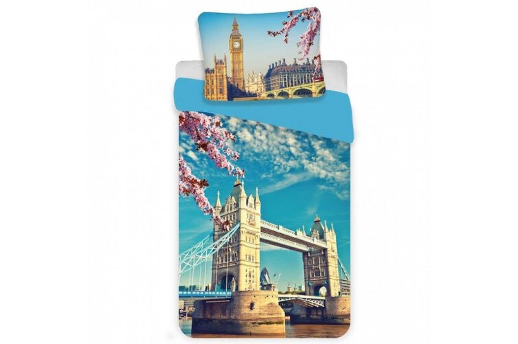Jerry Fabrics Bavlnené obliečky London blue, 140 x 200 cm, 70 x 90 cm