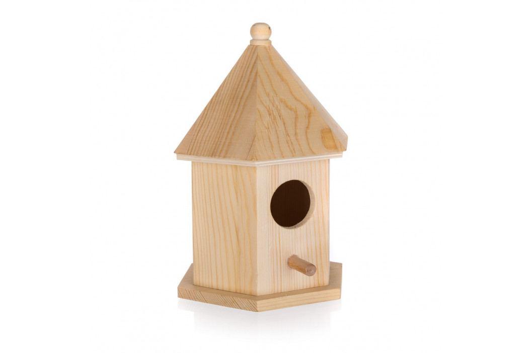 Drevená vtáčia búdka, 12,5 x 10,5 x 17,7 cm