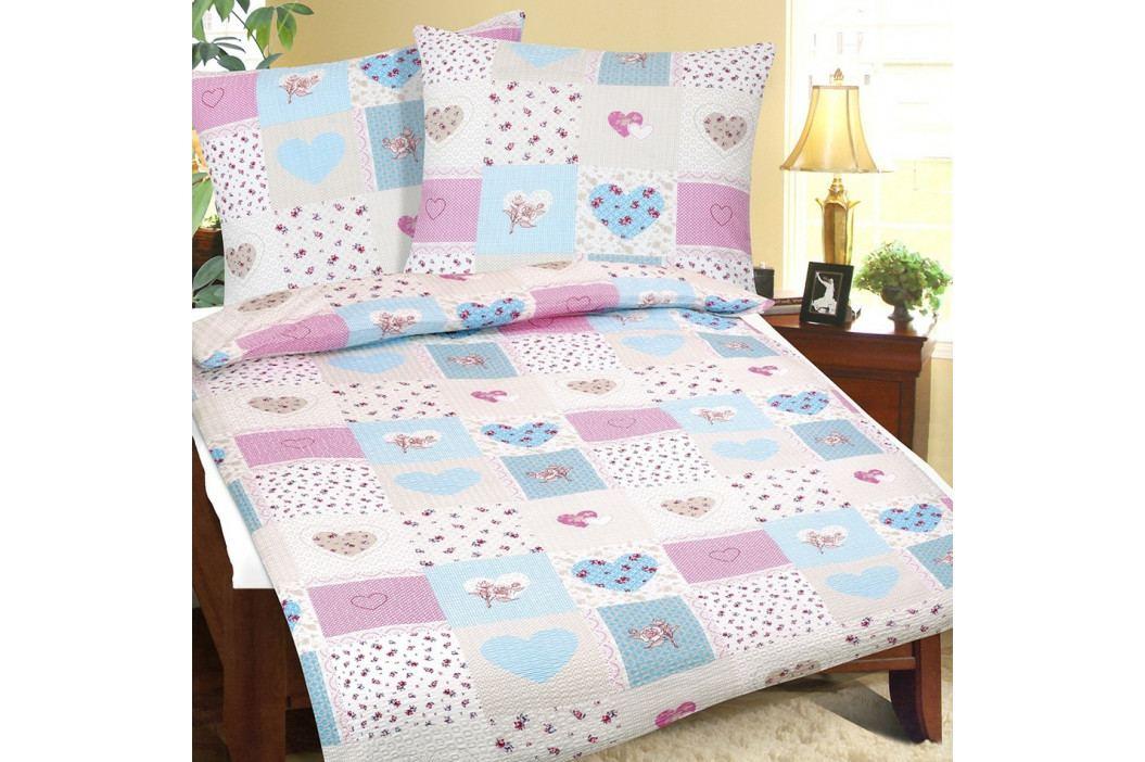 Bellatex Krepové obliečky Srdce modro-ružová, 140 x 220 cm, 70 x 90 cm