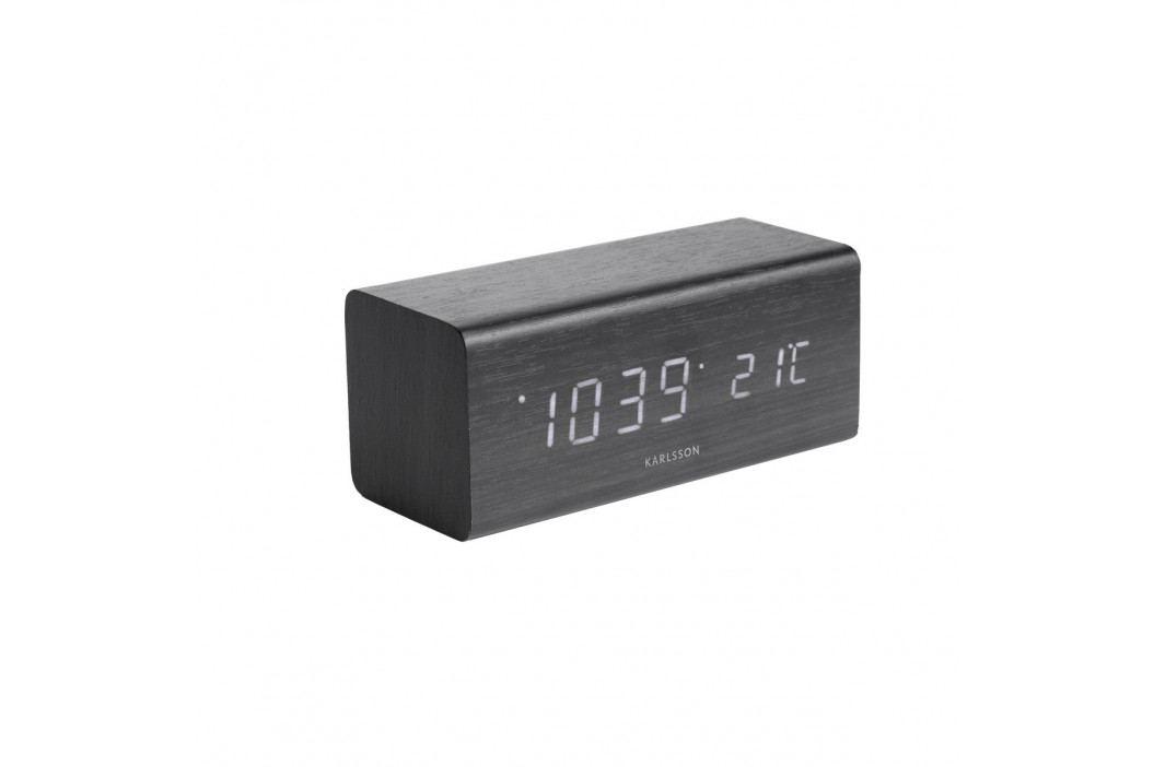 Karlsson 5652BK Dizajnové LED stolné hodiny s budíkom, 16 x 7 cm