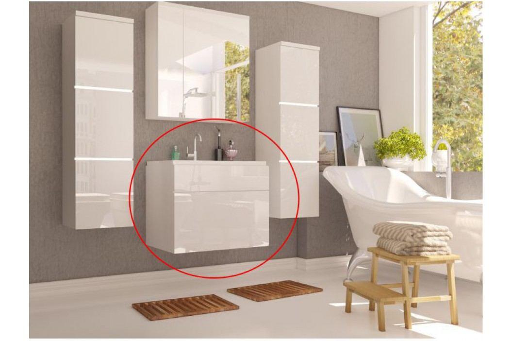 Kúpeľňová skrinka pod umyvadlo Mason (biela + biela extra vysoký lesk)