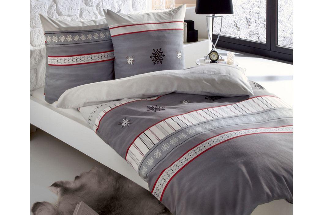 Flanelové obliečky Edelweiss sivé 140x200 jednolôžko - štandard Flanel