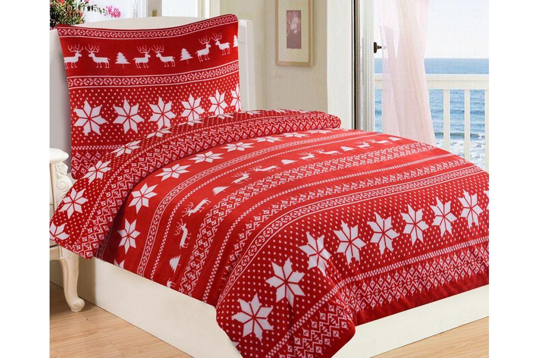 Mikroplyšové obliečky Winter červené 140x200 jednolôžko - štandard Microflanel