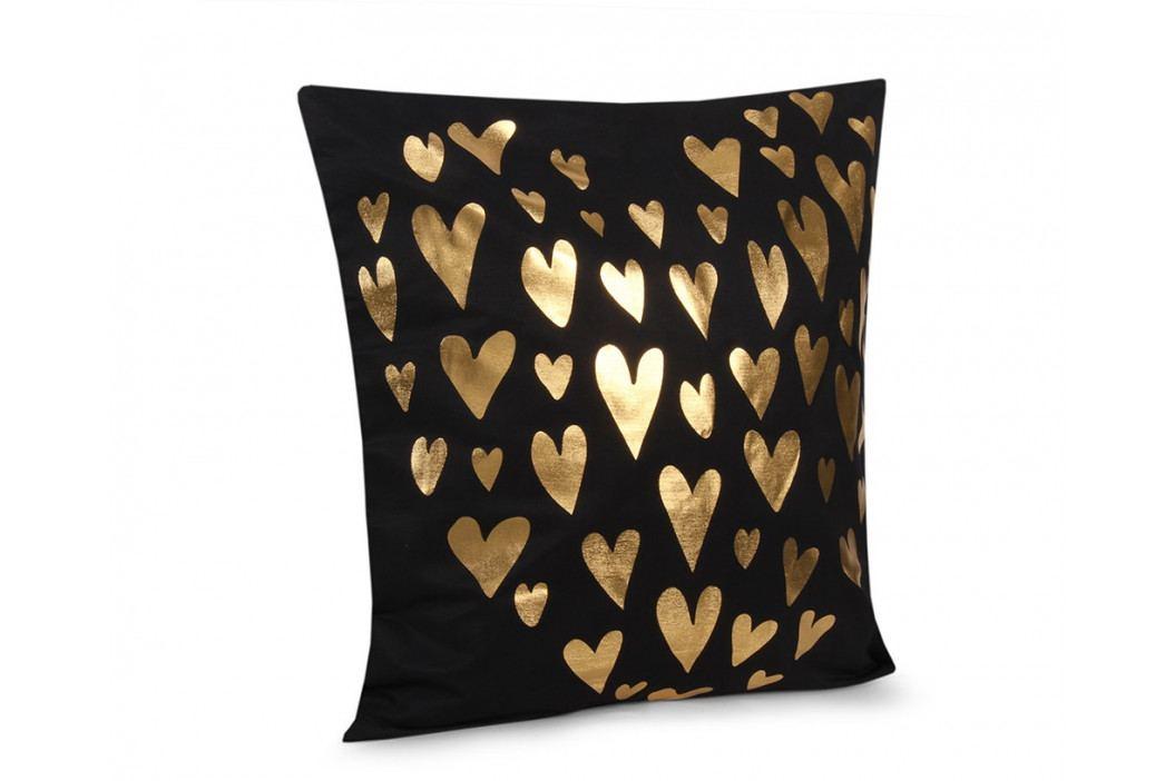 Obliečka na vankúšik Gold Srdiečka čierna 45x45 cm Polyester