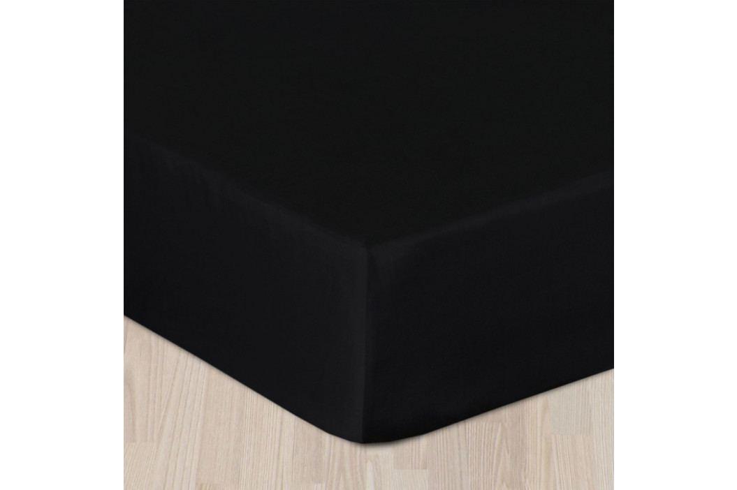Napínacie saténové prestieradlo čierne Jednolôžko Bavlna - satén