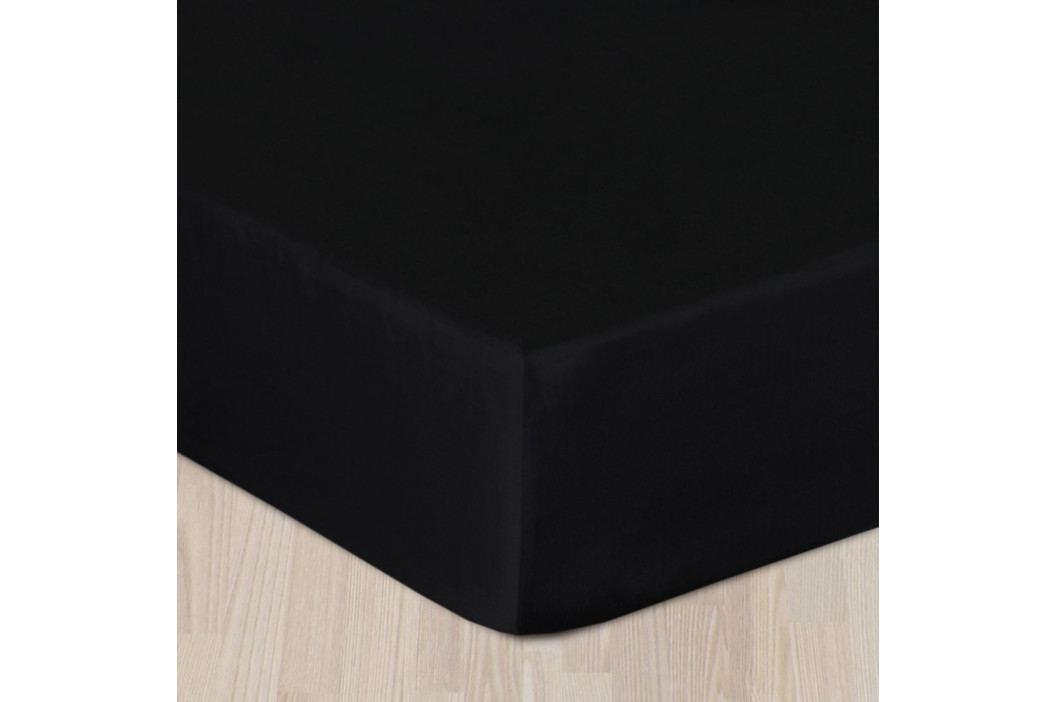 Saténové prestieradlo čierne Jednolôžko Bavlna - satén