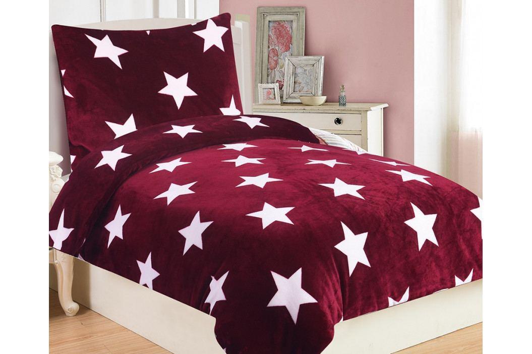 Mikroplyšové obliečky Stars vínové 140x200 jednolôžko - štandard Microflanel