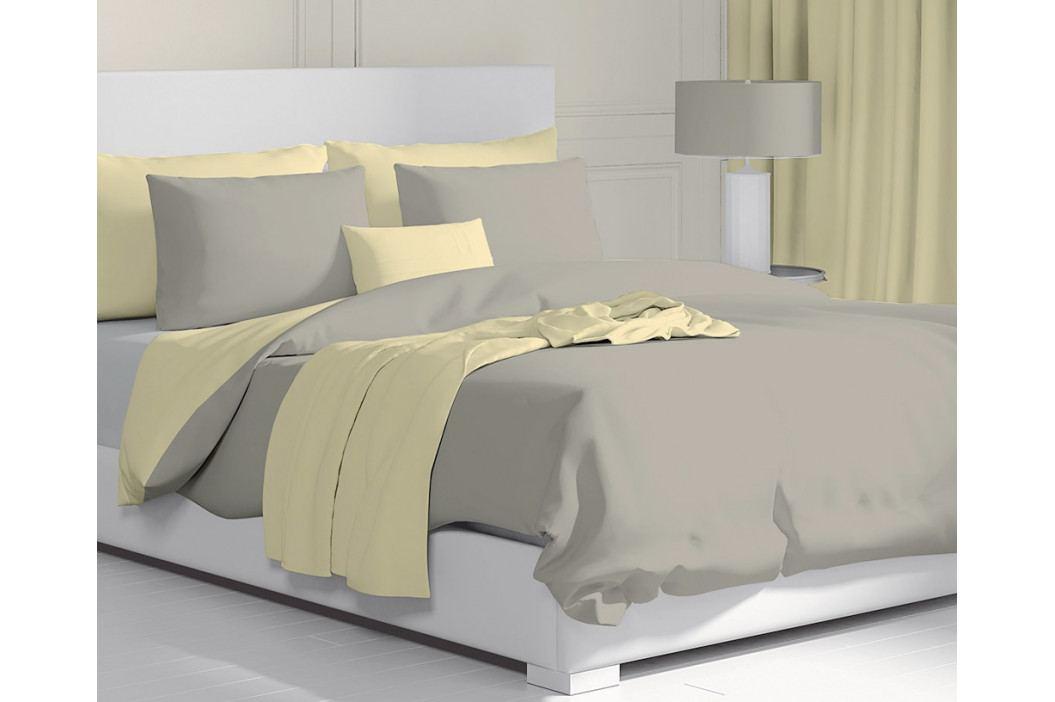Obliečky Double béžovo-žlté 140x200 jednolôžko - štandard bavlna