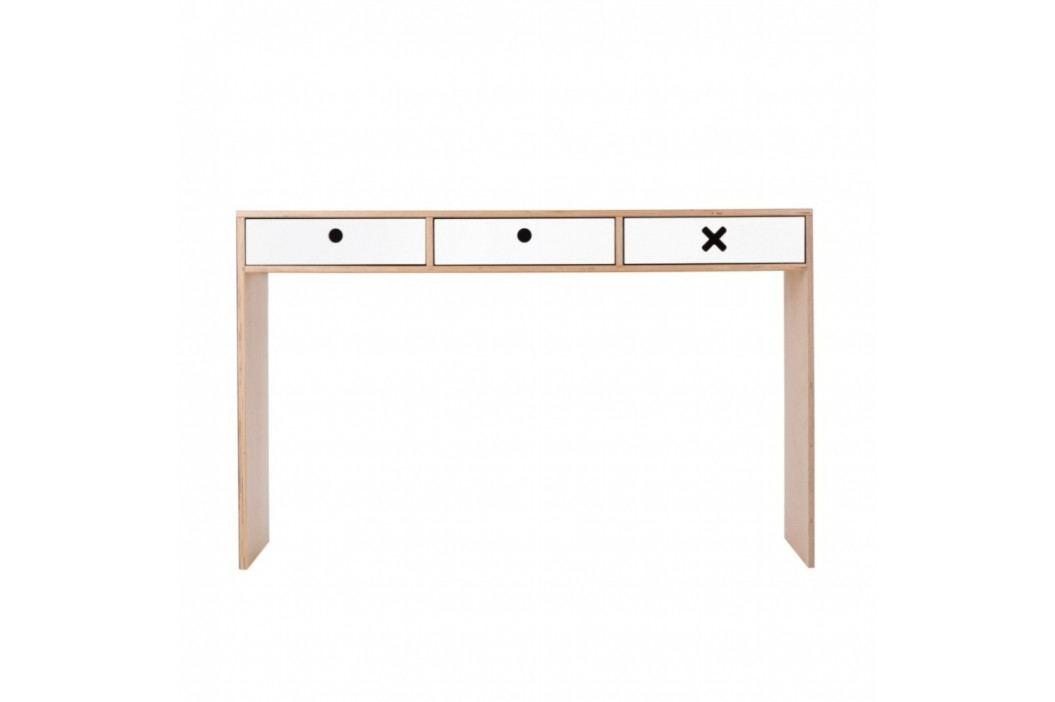 Biely pracovný stôl s tromi zásuvkami Durbas Style