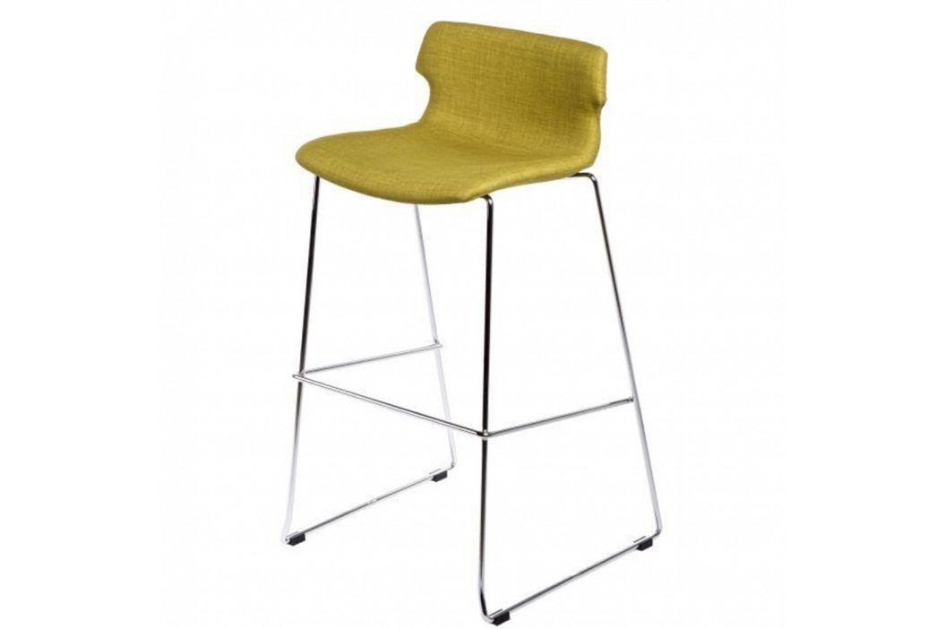 Olivová čalúnená barová stolička D2 Techno