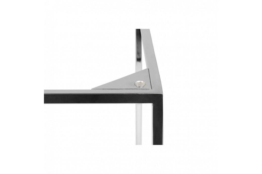 Čierny mramorový konferenčný stolík s chrómovými nohami TemaHome Gleam, 50cm