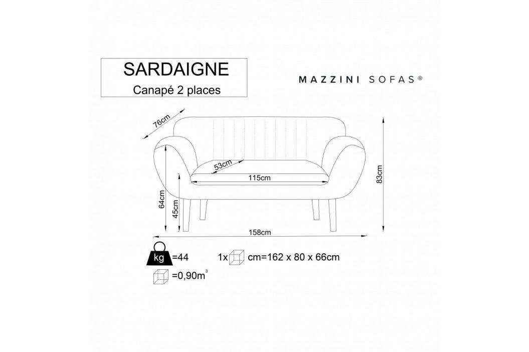 Fialová dvojmiestna pohovka so svetlými nohami Mazzini Sofas Sardaigne