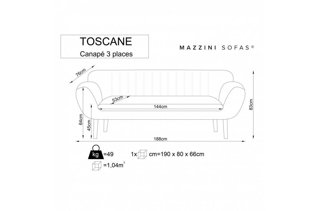 Tmavoružová pohovka pre troch Mazzini Sofas Toscane, čierne nohy
