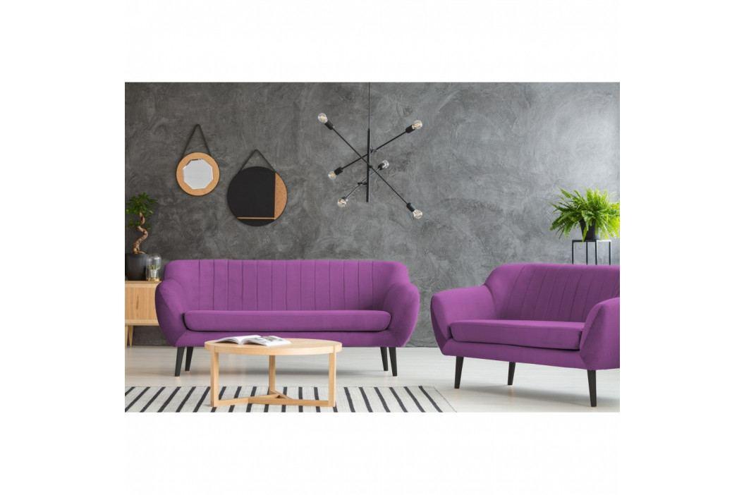Fialová pohovka pre dvoch Mazzini Sofas Toscane, čierne nohy