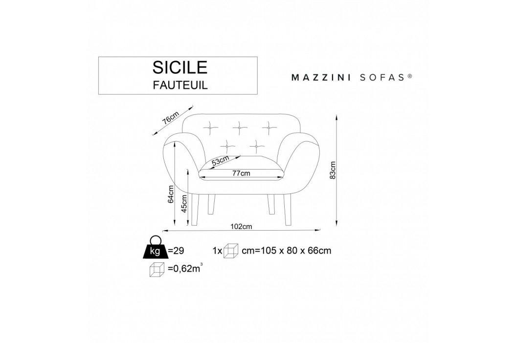 Ružové kreslo so svetlými nohami Mazzini Sofas Sicile
