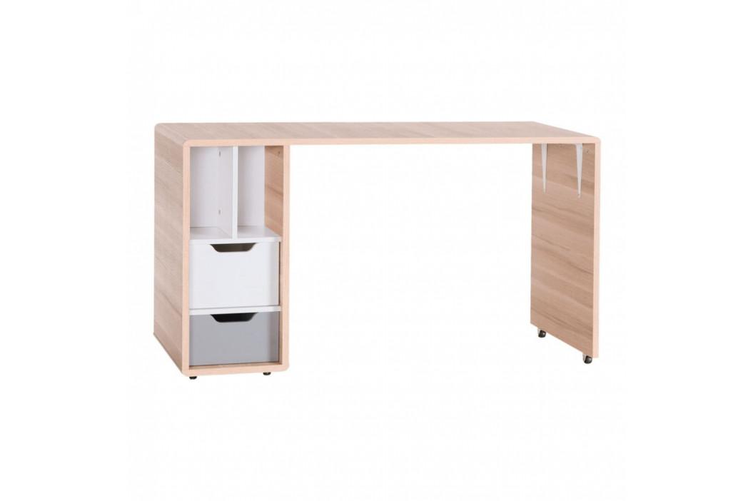 Pracovný stôl s dvoma bielo-sivými zásuvkami Vox Evolve