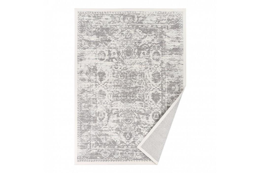 Biely vzorovaný obojstranný koberec Narma Palmse, 140×200cm