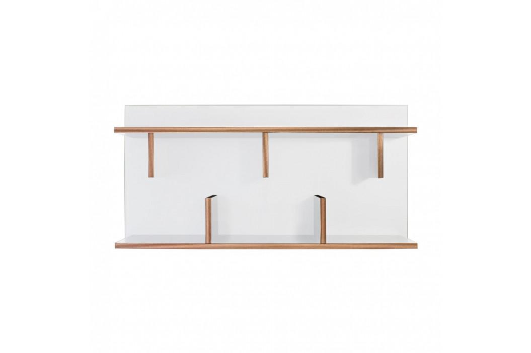 Biely nástenný policový systém TemaHome Bern, dĺžka 90cm