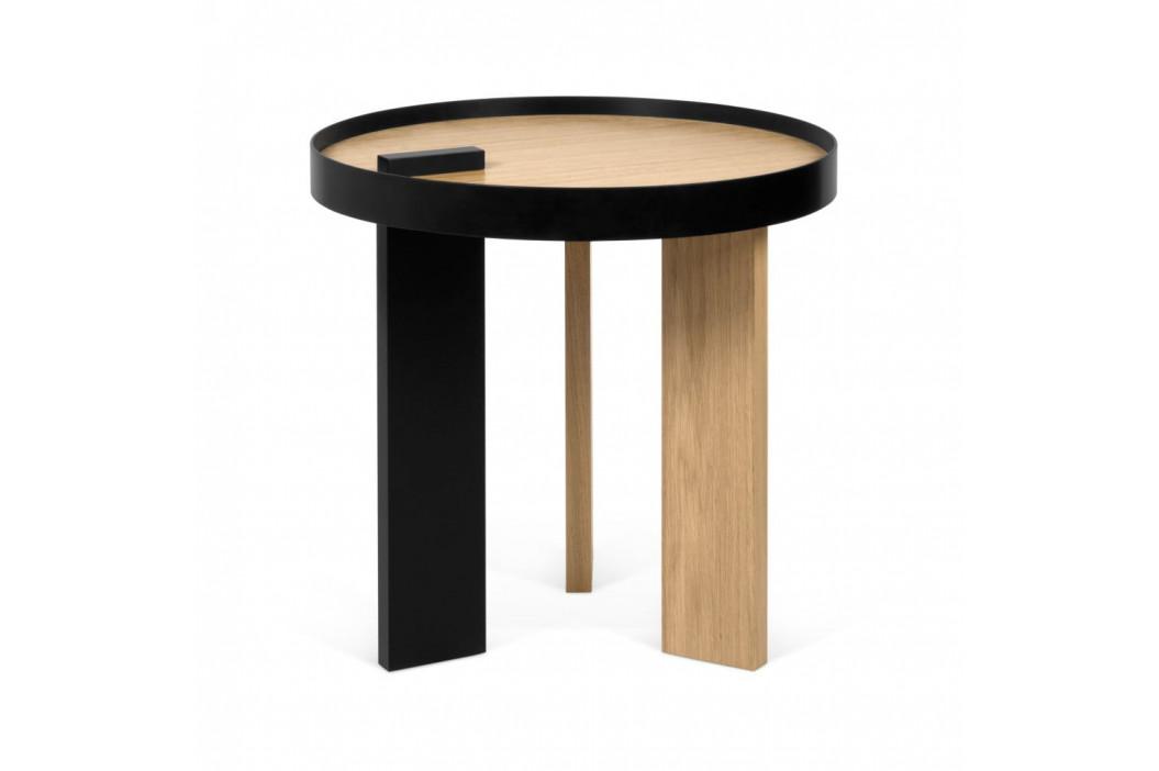 Príručný stolík v dubovom dekore s čiernymi detailmi TemaHome Bruno