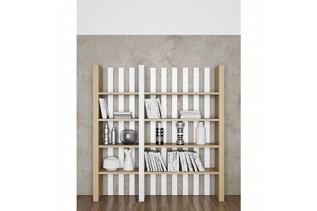 Knižnica v dekore dubového dreva s bielymi detailmi TemaHome Bounce