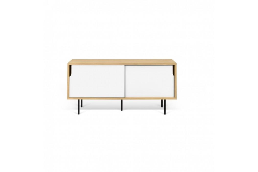 TV komoda v dekore dubového dreva s bielymi detailmi TemaHome Dann, dĺžka 135cm