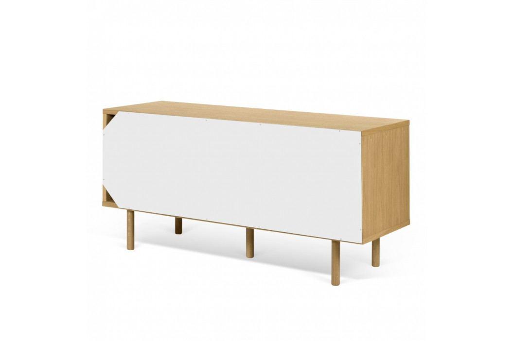 TV komoda v dekore dubového dreva s bielymi detailmi TemaHome Dann Stripes, dĺžka 135cm