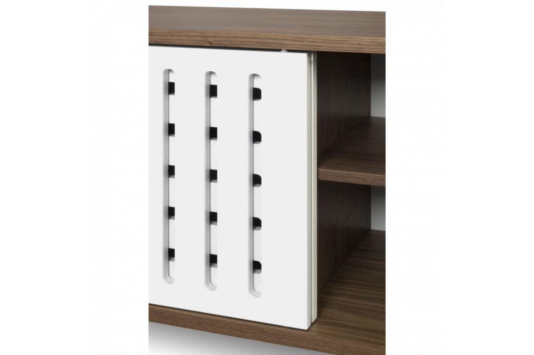 TV komoda v dekore orechového dreva s bielymi detailmi TemaHome Dann Stripes, dĺžka 165cm
