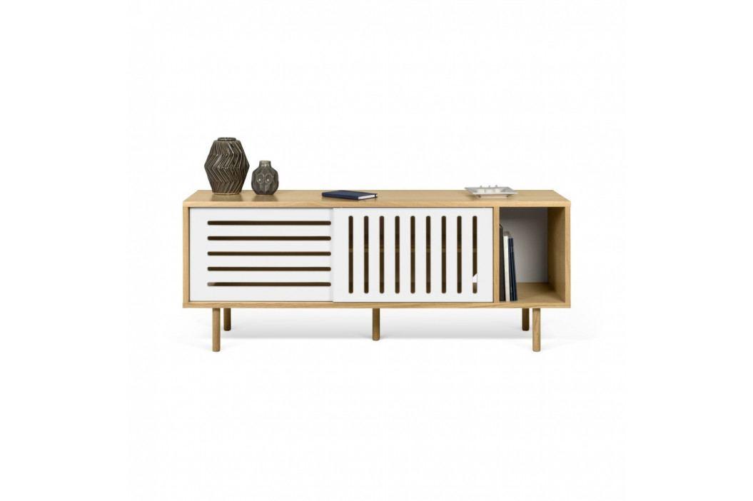 TV komoda v dekore dubového dreva s bielymi detailmi TemaHome Dann Stripes, dĺžka 165cm