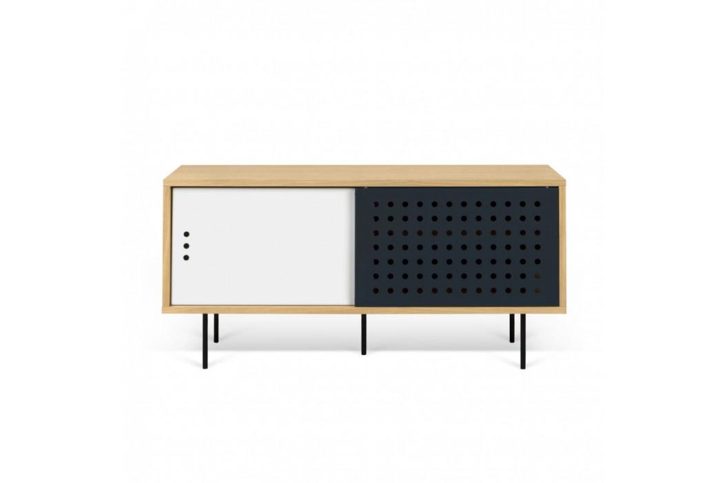 TV komoda v dekore dubového dreva s čierno-bielymi detailmi TemaHome Dann Dots, dĺžka 135cm